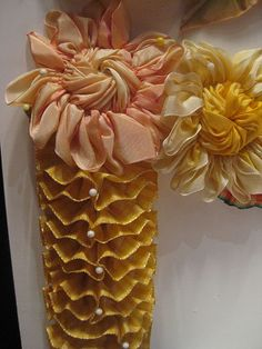 Ruffles . Ribbon embroidery . Pink and Yellow by Nicole Eymard . flickr.com