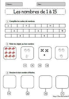 Number Sense Activities, Math Activities, Math Gs, Maternelle Grande Section, French Worksheets, Math Stations, 3rd Grade Math, Teaching French, Learn French