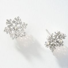 Glisten Earrings Touchstone Crystal Intricate Snowflake Post Feature Swarovski Elements Handset Into Rhodium
