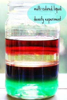 Different liquids have different densities (mass per volume) and therefore, different weights.  The heaviest liquids will sink, the lighter liquids will rise to the top.  So, dish soap is heavier than water which is heavier than oil which is heavier than rubbing alcohol.  And we all just learned something new- awesome!