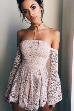 Pink Prom Dress, Blush Prom Dress, Prom Dress With Sleeves, Custom Homecoming Dress, Modest Prom Dress, Homecoming Dresses 2018 #HomecomingDresses2018 #CustomHomecomingDress #BlushPromDress #ModestPromDress #PinkPromDress #PromDressWithSleeves