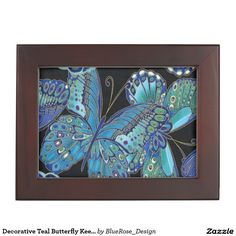 Shop Decorative Teal Butterfly Keepsake Box created by BlueRose_Design. Wooden Memory Box, Wooden Keepsake Box, Keepsake Boxes, Wooden Boxes, Butterfly Gifts, Personalised Box, Wooden Jewelry, Custom Boxes, Custom Wood