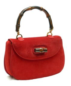 GUCCI Vintage 60s Red Suede BAMBOO Handle Purse