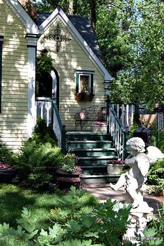 Cottage Porch Steps and Garden