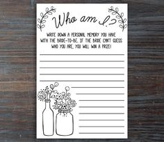 Who Am I Game . Who Am I Bridal Shower Game . Printable