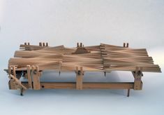 FAMAG 1000.88 | Markey, Peter (born 1930): Wave Machine, wooden automaton, 44.5 x 21 cms x 88.4 cms. Presented by the artist in 1996. | The Permanent Collection | Falmouth Art Gallery