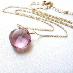 Pink Amethyst Necklace Cushion Cut Gemstone Gold Filled Pastel Jewelry on Etsy, $68.00