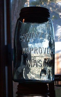 antique swayzee's improved mason vintage fruit jar by sparkklejar, $11.00