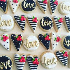 Items similar to mini black and white valentines cookies on Etsy