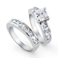 Bling Jewelry 2ct. CZ Princess cut Engagement Wedding Ring S
