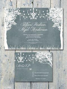 Printed Card  Digital Printable Files  Grey door WeddingSundaeStudio
