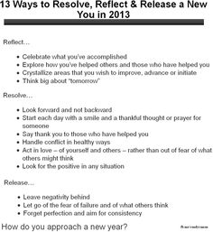 Reflect, Resolve & Release in 2013!  What did you learn in 2012 that you plan to carry forward? And, what will you leave behind?