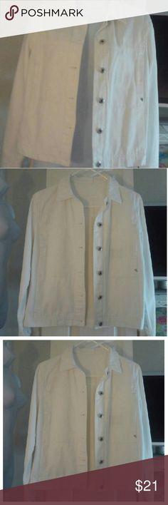 "White Denim Jacket More Pictures White Denim Jacket measures Armpit to Armpit 17"" Length 22"" New Man Collection Jackets & Coats Jean Jackets"