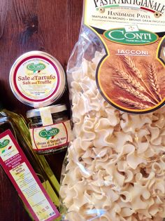The main ingredients to Conti's Pasta al Forno con Tartufo e Asiago.