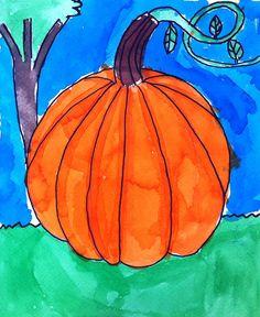 Watercolor Pumpkin · Art Projects for Kids Fall Art Projects, Classroom Art Projects, School Art Projects, Art Classroom, Pumpkin Drawing, Pumpkin Art, Paper Pumpkin, First Grade Art, Second Grade
