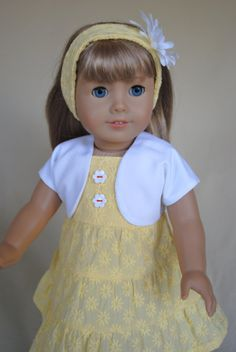 Yellow Daisy Dress and Shrug for American Girl/18 inch doll