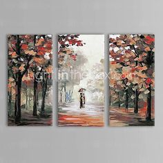 IARTS®Oil Painting Landscape Couples Walk in The Rain with Stretched Frame Set of 3 Hand-Painted Canvas - USD $ 119.99