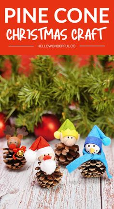 This adorable Pine Cone Christmas Craft will get you in the holiday spirit in no time! Find out how to make these cute and and easy Santa, elf, snowman and Rudolph reindeer pine cones. #hellowonderful Christmas Activities For Kids, Holiday Crafts For Kids, Christmas Themes, Christmas Fun, Pine Cone Christmas Tree, Photo Christmas Ornaments, Christmas Angels, Reindeer, Snowman