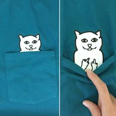 This funny pocket tee is not just an innocent cat/dog shirt! There is a little something hiding in the pocket.  This pocket tshirt is hanes brand for sizing (unisex shirt). This product is NOT available in youth sizes due to nature of shirt.  Please select between our cat and dog designs in the size drop down menu! Also, select your shirt color! Shirts will ship within 7-10 business days after order is processed!  Colors may differ slightly from examples! **For 2XL+, please message us, s...