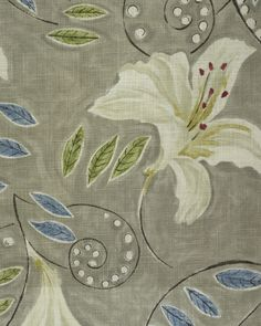 AngelicaFabric A floral lily painterly design curtain fabric, inspired by a Vanessa Bell painting, in white with blue and green leaves, with a grey background.
