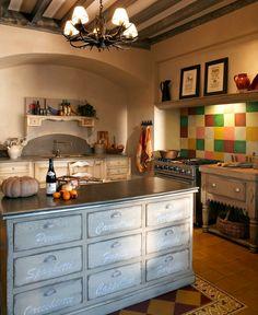 Cuisine de style provençal / classique / en bois / peinte RUSTIQUE COSI