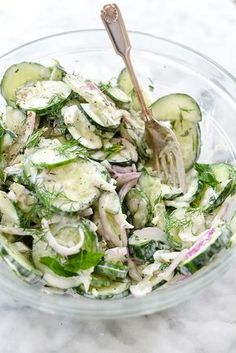 Creamy Yogurt Cucumber Salad Recipe on foodiecrush.com