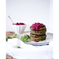 Kale & Zucchini Pancakes With Mashed Lingonberries (gluten-free)