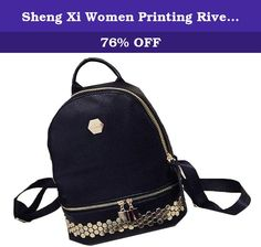 "Sheng Xi Women Printing Rivet Traveling Rucksack Fashion PU Leather School Backpack 3 OS. Please contact us through messages in Amazon with any questions regarding your order. Product Parameters Adjustable sternum strap Fabric: PU Leather Item Weight: 0.60kg Product Dimensions:12.99""(33cm) x9.84""(25cm) x5.51""(14cm)."