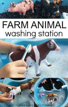 Washing Farm Animal Sensory Bin Farm Animal Washing Station Sensory Play for Toddlers and Preschoolers Nanny & Au Pair & Babysitter & Parenting & www.nannyprintabl& The post Washing Farm Animal Sensory Bin appeared first on Kristy Wilson. Farm Activities, Toddler Learning Activities, Montessori Activities, Infant Activities, Animal Activities For Kids, 2 Year Old Activities, Sensory Activities For Preschoolers, Outdoor Activities For Toddlers, Kindergarten Sensory