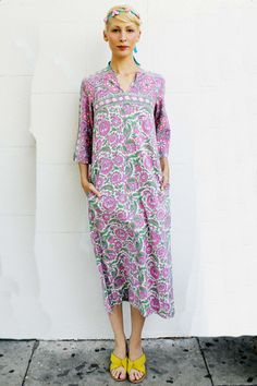 Pink+and+Green+long+Indian+Dress+by+TavinShop+on+Etsy,+$240.00