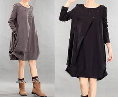 4 Colors Spring/Autumn Dresses Long Sleeve Loose Fit Long Shirt Soft Cotton Clothing Loose Fit Long Top With Pockets (MM049) on Etsy, $52.00