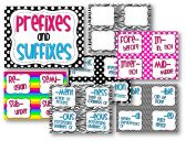 Prefixes & Suffixes - Bright Stripes product from Teaching-in-Flip-Flops on TeachersNotebook.com