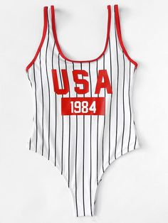 Red Striped USA Letter Print Bikini One Piece Swimsuit - Biquínis - Chic Outfits, Summer Outfits, Fashion Outfits, Woman Outfits, Cute Swimsuits, Women Swimsuits, Bikini Mode, Stuck, Bikini Outfits