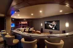 Man heaven...for watching the big games...Media room with a bar...22 Contemporary Media Room Design Ideas
