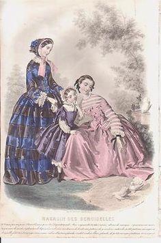 1850s French Fashion Print 2 Ladies Girl Bonnets Doves Birds Garden Color | eBay