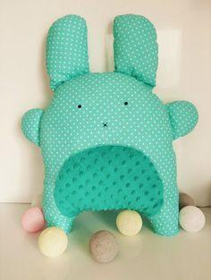 Bunny Pillow Cute Pillow Green Pillow Mint Pillow Handmade