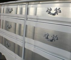 silver and white striped painted dresser