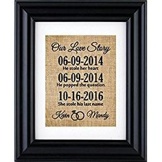 Our Love Story Sign, Art Wedding / Anniversary Gift,Our Love Story Burlap Print (Frame not Included)-1P