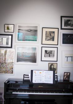 "Sneak Peek: Naomi Ben Shahar. ""I got the piano from my great aunt Fritzi. She and my uncle Walter (in the standing picture on the right) used to have wild parties in their UWS apartment in the '30s, and often played this piano. The gallery wall surrounding it has art that I love, got from friends, and bought over the years."" #sneakpeek"