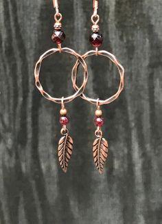 Long copper leaf earrings, copper dangle earrings, copper earrings, co… Garnet Earrings, Copper Earrings, Leaf Earrings, Bridal Earrings, Crystal Earrings, Crystal Jewelry, Beaded Earrings, Earrings Handmade, Handmade Jewelry