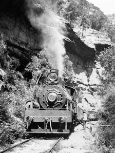Shay locomotive #4 stops to take water from a dam just before the tunnel.  Wise passengers would leave the train here and walk up the gorge  to rejoin the train on the other side of the tunnel.