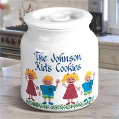 Ceramic Topped Cookie Jar with up to Six Sponge Kids on the Front