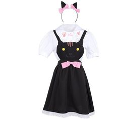 Cute Cat Ear Maid Cosplay Dress Neko Atsume Lolita Cartoon Print Shirt... ($23) ❤ liked on Polyvore featuring costumes, cartoon halloween costumes, cosplay halloween costumes, cartoon costumes, comic costumes and cosplay maid costume