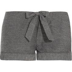 Bodas Montana herringbone brushed-cotton pajama shorts ($26) ❤ liked on Polyvore featuring intimates, sleepwear, pajamas, charcoal and bodas