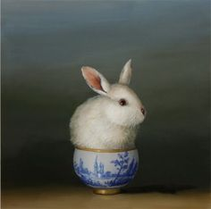 David Kroll 'White Rabbit' oil painting.