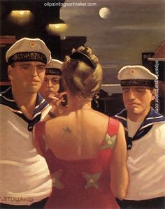 Jack Vettriano Sailor Boys painting art sale, painting - $3,000.00 Authorized official website