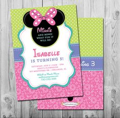 Minnie Mouse Birthday Invitation Minnie by thepartystork on Etsy Minnie Mouse Theme Party, Minnie Mouse Birthday Invitations, Mickey Mouse Invitation, Minnie Mouse Baby Shower, Minnie Mouse Pink, Mouse Parties, Minnie Bow, Frozen Birthday Party, 3rd Birthday