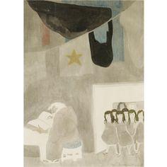 Leon Spilliaert - cloche de verre; Medium: ink and coloured crayons on paper; Dimensions: 19 X 14 in (48.26 X 35.56 cm)