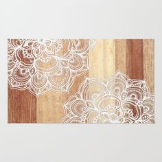 White doodles on blonde wood - neutral / nude colors Area & Throw Rug