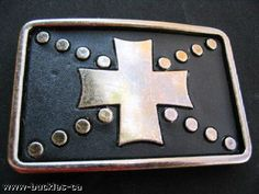 GOTHIC STUDDED IRON CROSS BELT BUCKLE GOTH CROSSES BELTS BUCKLES